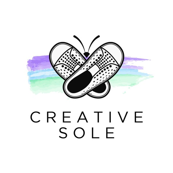 Butterfly logo with the title 'Creative Logo design for a shoe accessories'