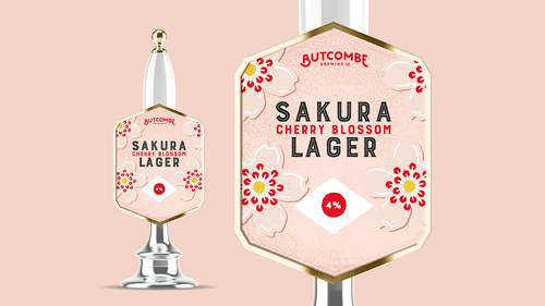 Cherry blossom logo with the title 'Lager tap'