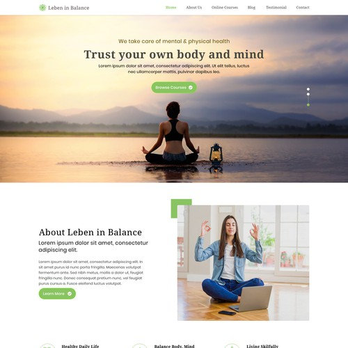 Awesome website with the title 'Meditation and a healthy living web design'