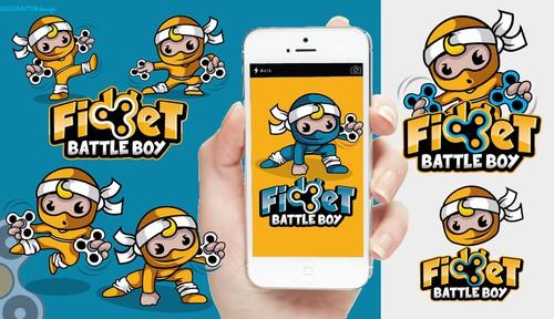 Cute design with the title 'Fidget battle boy logo design'