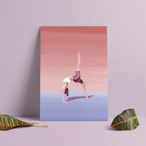 Canvas illustration with the title 'Yoga poster'