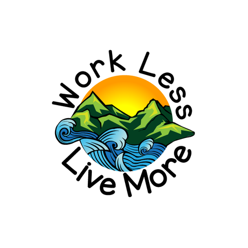 Relaxing design with the title 'Design illustration for Work Less Live More'