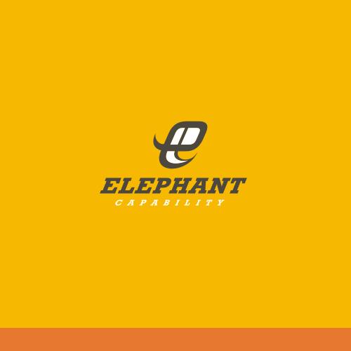 E logo with the title 'Design a creative yet business like logo for Elephant Capability'