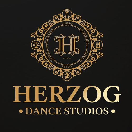Dance school logo with the title 'Create a luxury logo for Herzog Dance Studios'