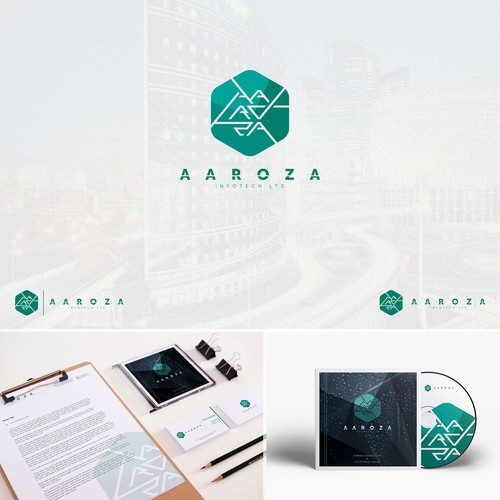 Stationery brand with the title 'Aaroza Infotech'