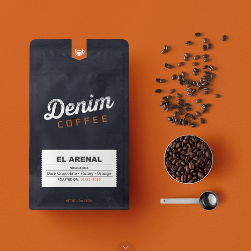Pouch design with the title 'Elegant Coffee Bag Design for Denim Coffee'