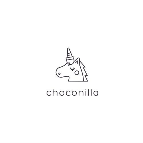 Ice cream shop design with the title 'Choconilla'