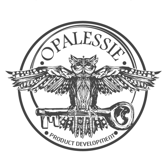 Flying logo with the title 'vintage hand drawing owl design'