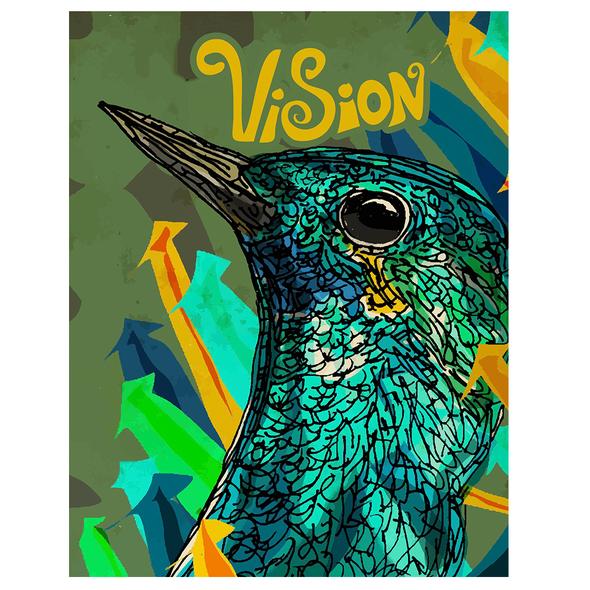 Bird artwork with the title 'Bird Vision'