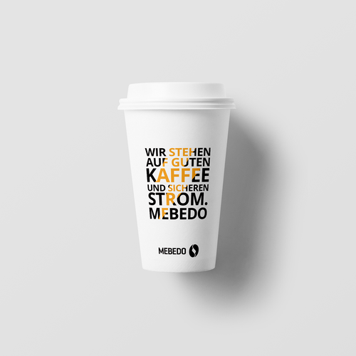 White and yellow design with the title 'Coffee paper cup'