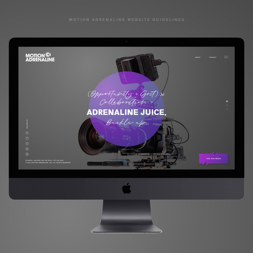 Communications design with the title 'Motion Adrenaline Website guidelines UI/UX'