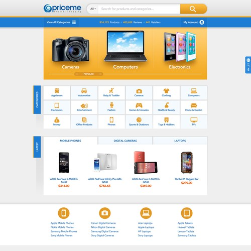 Theme website with the title 'Price Comparison Site Redesign'