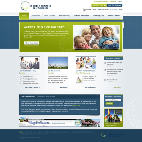Community website with the title 'Website Design for Chamber of Commerce'