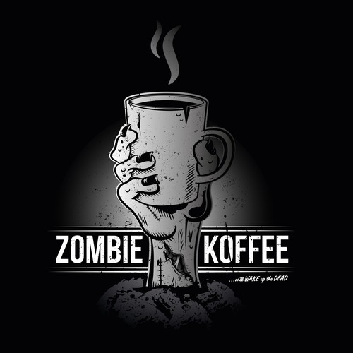 Zombie logo with the title 'Zombie Koffee Logo'