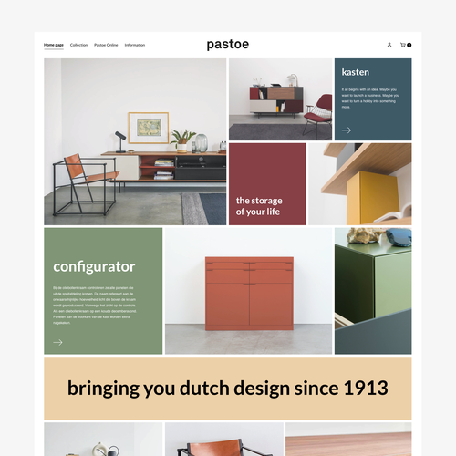 Furniture website with the title 'Pastoe webdesign. Squarespace website'