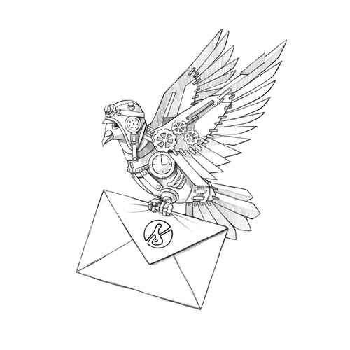 Envelope design with the title 'Robot Carrier Pigeon with Envelope'