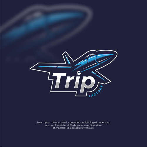 Jet design with the title 'Logo concept for Trip Factory'