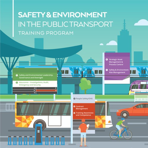 Street design with the title 'Safety & Environtment in the Public Transport Infographic for Opposite'