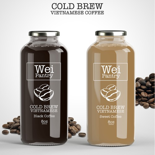Drink design with the title 'Wei Pantry Coffee label design concept'