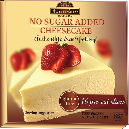 Dessert packaging with the title 'Gourmet Cheesecake Package Design (No Sugar Added)'