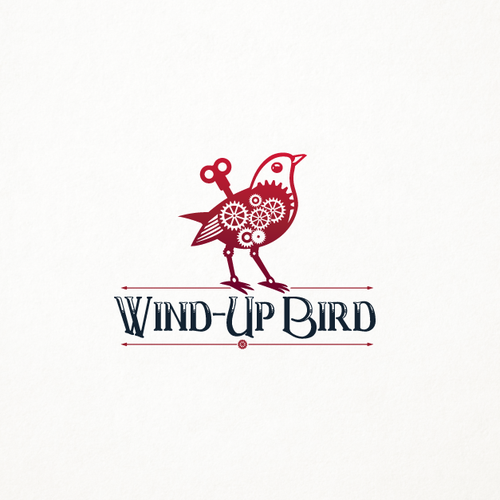 Steampunk logo with the title 'Mechanical bird'