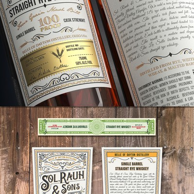 Vintage Rye Whiskey Label for Craft Distillery