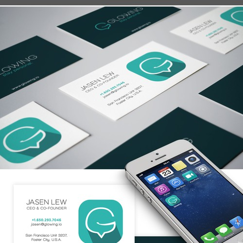 Messaging design with the title 'Glowing.io Logo & Identity Design'