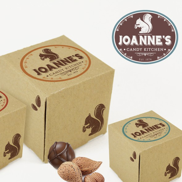 Squirrel design with the title 'Small fine Chocolatier Logo'