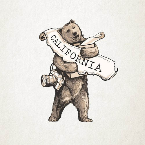 Detailed illustration with the title 'California Bear Mascot'