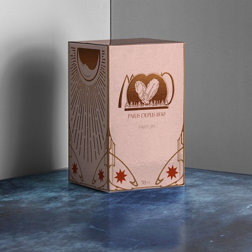 Art Deco packaging with the title 'box desugn for french perfume '