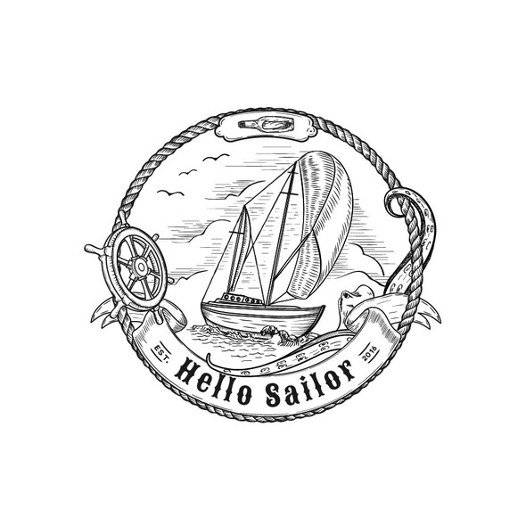 Sailboat design with the title 'Classic New England Nautical design'