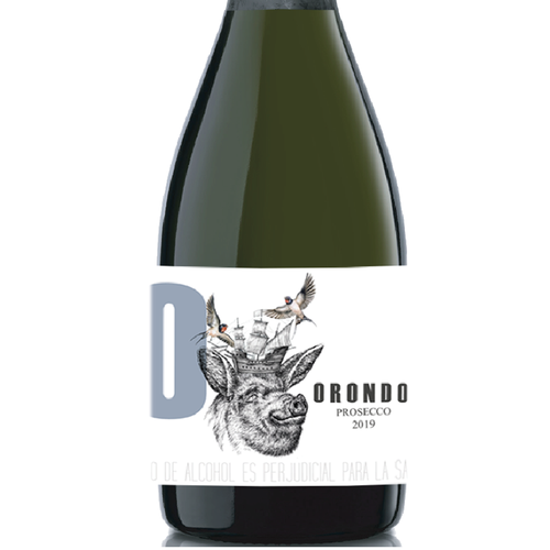 Sparkle design with the title 'Orondo Label for unconventional sparkling wine'