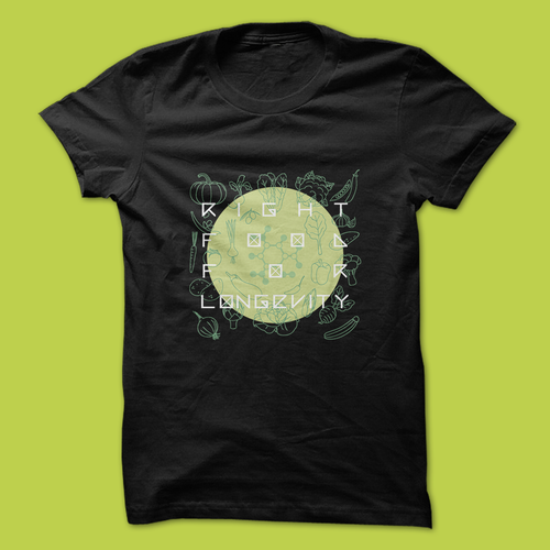 Flat t-shirt with the title 'Concept Shirt for Food Longevity'