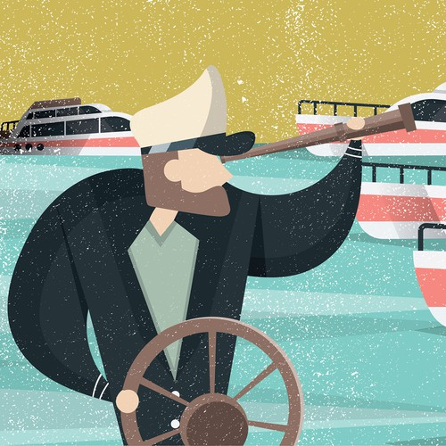 People artwork with the title 'Yacht Theme Illustration'