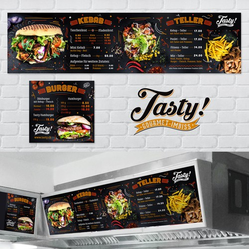 Burger design with the title 'Menuboards for a high quality take away burger restaurant'