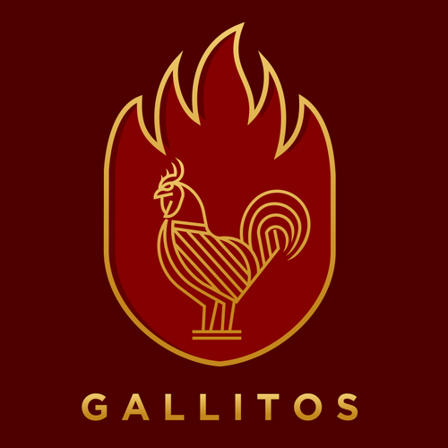 Line art logo with the title 'Gallitos'