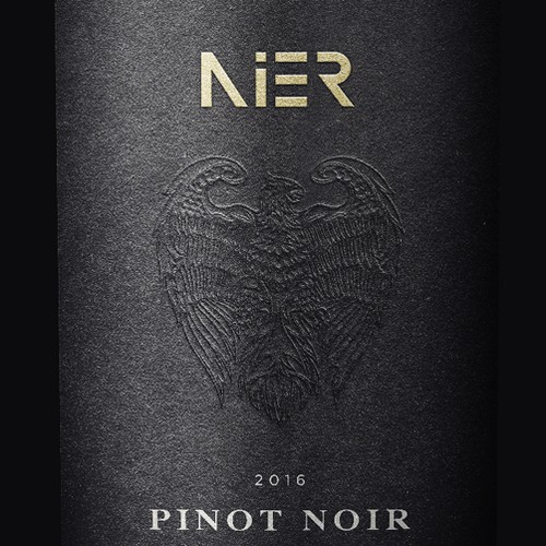 Embossed design with the title 'Wine label design for 'Nier', Hungarian wine'