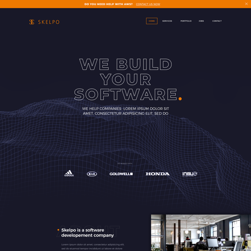 Development website with the title 'Website design for a software house '