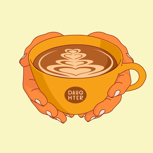 Hand artwork with the title 'Latte art coffee illustration '