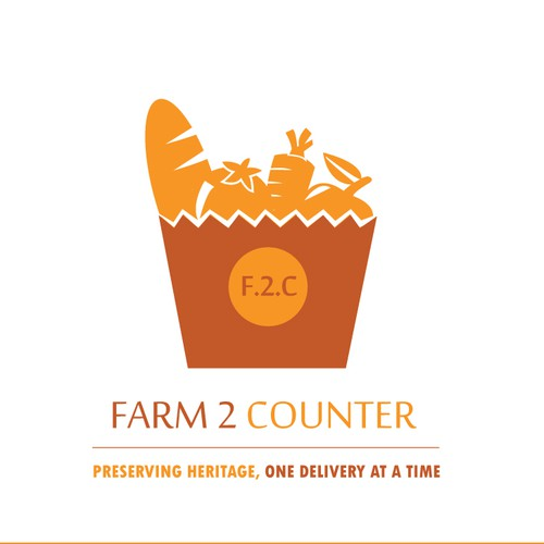 Food store logo with the title 'Farm 2 counter'