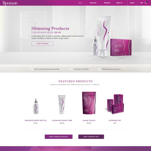Beauty website with the title 'Lipoxane'