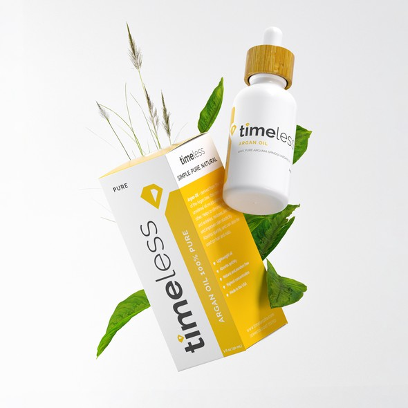 Product packaging with the title 'Timeless Pure Product Rendering'