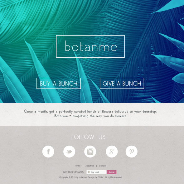 Fashion website with the title 'Web design concept for a monthly, floral delivery service'