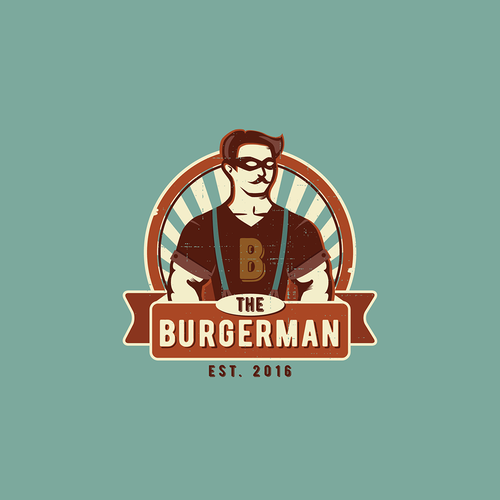 Mustache logo with the title 'The Burgerman Contest'
