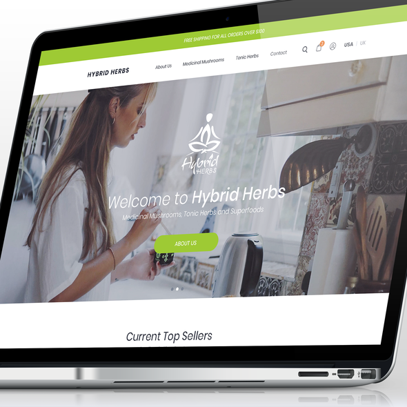 Green website with the title 'E-Commerce Design'