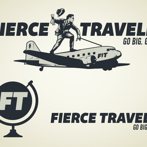 Airplane logo with the title 'Logo Design for adventure comedy brand'