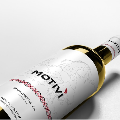 White wine label with the title 'A label for Moldovan wine'