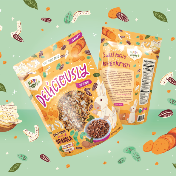 Breakfast design with the title 'Deliciously granola'