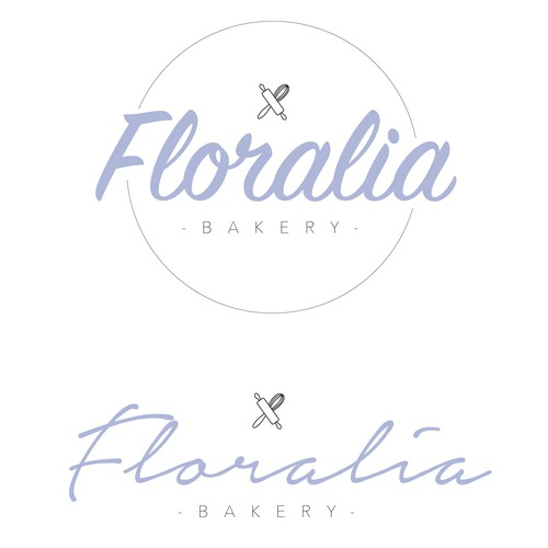 Rolling pin logo with the title 'Logo concept for 'Floralia Bakery''