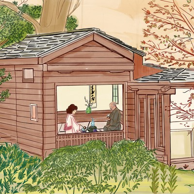 Illustration of a Japanese American tea house.